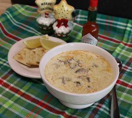 Oyster Stew thickened with crushed saltines.