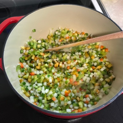 Saute onions and peppers